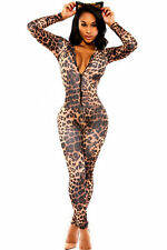 New brown leopard full length jumpsuit catsuit club wear fancy dress size 10-12