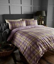 100% COTTON FLANNELETTE SUPER KING DUVET COVER SET TARTAN CHECK ARRAN HEATHER