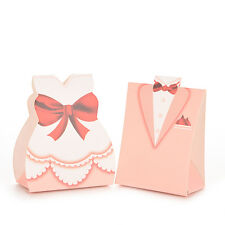 100 X Pink Bride Groom Tuxedo Dress Gown Wedding Favor Candy Box Gift