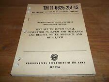 1966 USA Army Technical Manual. Test Set, Signal Generator & Decibel Meter.