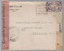 1944 Papeete Tahiti Censored Dual Cover to USA