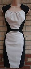 DOROTHY PERKINS CREAM BLACK SLIMMING TAILORED SPOTTY QUILTED PENCIL TUBE DRESS S