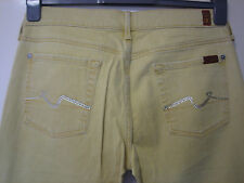 K13 ) MENS SEVEN YELLOW STRAIGHT FIT  JEANS  ZIP FLY   W 30 LEG 33