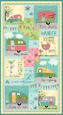 ON THE ROAD AGAIN VINTAGE STYLE CARAVANS LIVE SIMPLY HAPPY CAMPER FABRIC PANEL