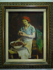 Adolf Adi Adler Israeli Artist Oil Painting/Canvas Woman in a Kitchen 35 x 26 cm