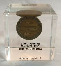 1990 Token Coin In Lucite Cube Grand Opening General Dynamics Imperial Valley CA