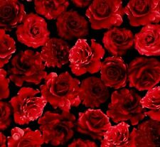 Fat Quarter Red Roses on Black 100% Cotton Quilting Fabric Timeless Treasures