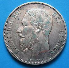 5 Franchi Belgio Leopoldo II del 1873 - ARGENTO - 639