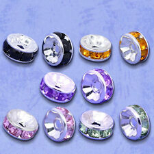 100 Silver Plated Flat Side Random Mixed Rhinestone Rondelle Spacers Beads 8x4mm