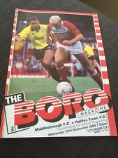 Middlesbrough V Halifax Town 1989 Soccer/football Programme League Cup