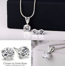 Bridesmaid Jewelry Set, Crystal Necklace & Earrings Wedding Bridal Jewellery