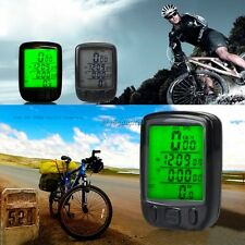 WIRED WATERPROOF BICYCLE BIKE CYCLE COMPUTER SPEEDOMETER ODOMETER LED DISPLAY