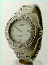 Rare Technos Sky Diver Professional 1000M 6M12-EL 42X45mm White Dial Steel Watch