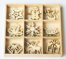 45-pc CHRISTMAS Mini Laser Cut Wood Shapes 9 Styles! Card Gift Tags 2015-03
