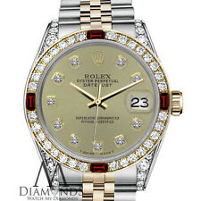 Women's Rolex 31mm Datejust 2Tone Champagne Color Dial with Ruby & Diamond Bezel