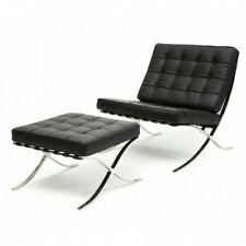 eBB Premium Barcelona Lounge Chair and Ottoman-GENUINE  Black ITALIAN Leather