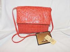 PAOLA DE LUNGO VINTAGE 70s RED ALLIGATOR EMBOSSED LEATHER  CROSSBODY BAG,MIRROR