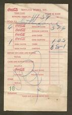 COCA-COLA BOTTLING WORKS, BOWLING GREEN, KY INVOICE 1959