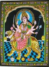 "Huge Cotton Fabric Durga Ma Mother Goddess Yoga 43"" X 30"" Tapestry, New, Free Sh"