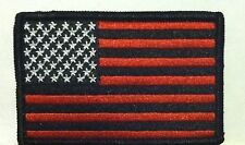 American Flag Iron-On Patch USA Red & Black Military Emblem Black Border