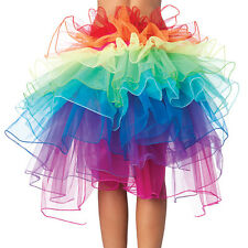 Vivid Rainbow Partly Bustle Ballet Dance Ruffle Belt Skirt Party Fancy Dress