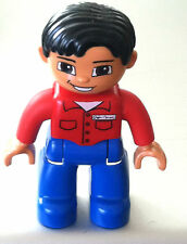 *NEW* Lego DUPLO Male BLUE Legs RED Top Pockets Nametag BLACK Hair BROWN EYES
