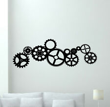 Gears Wall Decal Cogwheel Cogs Wheels Vinyl Sticker Garage Decor Poster 57thn
