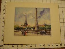 Vintage Original Engraving: Paris la Concorde SIGNED, forte originale