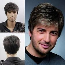New Best Quality Cool Men Short Lolita Black Grey Mixed Layered Wig Capless Caps