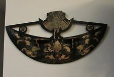 Vintage Japanese lacquer hanging shelf with dragons and crane sconce