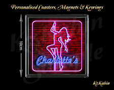 Personalised Pole Dancing Neon Sign Novelty Drinks Coaster Birthday Xmas Gift
