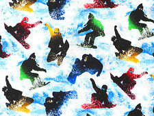 CHILL OUT SNOW BOARDING TRICKS WINTER SPORT QUILTING TREASURE COTTON FABRIC YARD