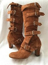Vivienne Westwood Pirate Dessert Brown Suede Strappy Buckle Elevated Boots SZ 39