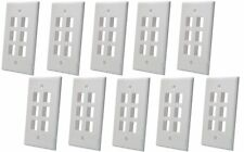 10 Pack x 6 Port Hole Keystone Insert Jack CAT RJ45 HDMI Audio Wall Plate WHITE