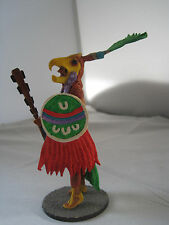 HAND-PAINTED AZTEC WARRIOR LEAD FIGURINE WITH EAGLE HEADDRESS - AS IS