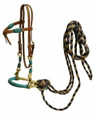 WESTERN HORSE BOSAL BRIDLE BITLESS HEADSTALL W/ REAL HORSEHAIR MECATE REINS
