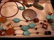 LOT 3 TURQUOISE ART GLASS RHINESTONE AB NECKLACES + EARRINGS Set STERLING CLASP