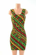 LARGE Tribal Rasta Print Green Red Gold Bodycon Tank Dress NWT Ready To Ship!