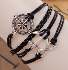 NEW Infinity Anchor Compass Leather Charm Bracelet plated Silver DIY Cute
