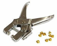 HEAVY DUTY Eyelet Pliers Hole Punch Tool Cut Leather Belt/Boots Lace+100 Eyelets