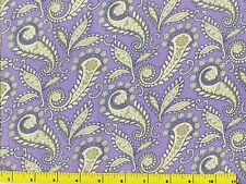 Victorian Floral Paisley & Leaves on Light Purple Quilting Fabric by Yard  #560