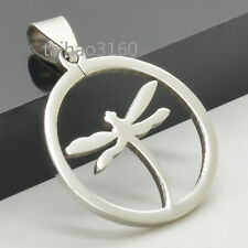 Silver Stainless Steel Vintage Pendant Round Dragonfly Dog Tag Pendant C112