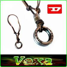 DIESEL New Necklace Pendant rings Genuine Leather Brown Unisex Surfer strap ND03