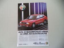 advertising Pubblicità 1984 ALFA ROMEO 33 QUADRIFOGLIO VERDE