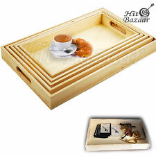 Breakfast Bed Serving Tray Nested Paintable Wooden 5 Piece Set with Handles TV