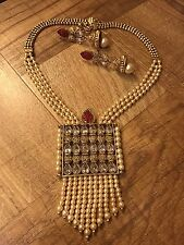 Indian Pakistani Ethnic Bollywood Pearl Moti Ruby Pink Necklace Pendant Earring
