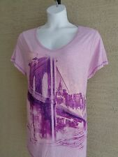 Just My Size Glitzy Graphic S/S V Neck High Low Tee Top 4X Heather Purple