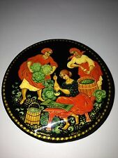 "Russian lacquer hand painted box "" WOMEN CUT CABBAGE"" from Kholui artist BIRYOV"