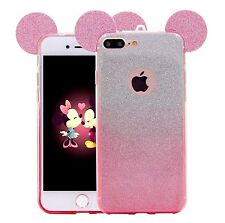 For iPhone 7+ PLUS - Hard TPU Rubber Case Cover Pink Silver Glitter Mouse Ears