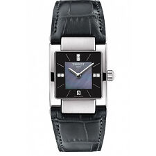 Tissot Lady T02 Quartz Black MOP Dial Leather Strap Women's Watch T0903101612600